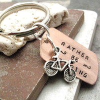 Rather Be Riding Bike Key Chain, swivel lobster clasp avail in lieu of split ring