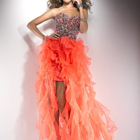Hot Coral Ruffle Organza Beaded Lace Up Prom Dress - Unique Vintage - Cocktail, Pinup, Holiday & Prom Dresses.