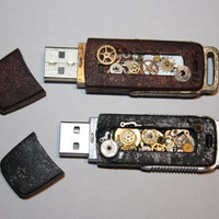 Steampunk Style Altered USB stick 4GB Black or Brown