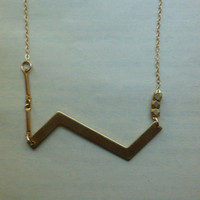 zig zag necklace, brass geometric necklace on thin gold fill chain