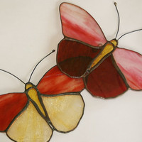 Stained Glass Butterfly Suncatcher Two Pink Red by GaleazGlass