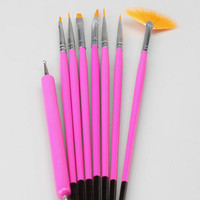 NPW 8 Piece Nail Art Brushes and Tools- Black One