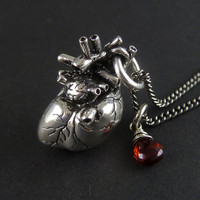 Birthstone Necklace - January Birthstone Necklace - Antique Silver Anatomical Heart Necklace with Sterling Silver Wire Wrapped Garnet