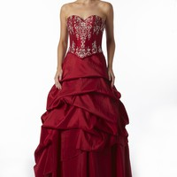 Shop For Prom Dresses |Rouge Red Corseted Taffeta Prom Dress and Ball Gown