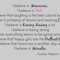 Audrey Hepburn Wall Decal Quote &#x27;I believe in...&#x27;