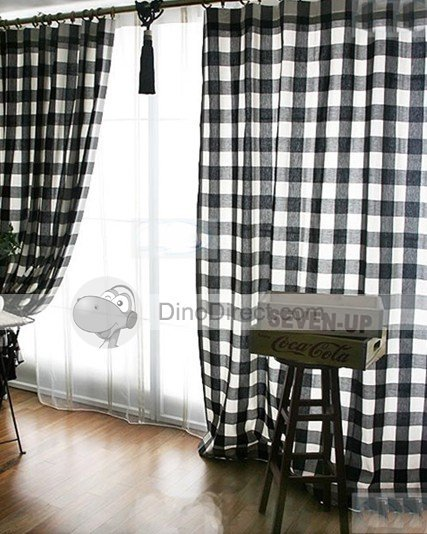 Fashionable Check Pattern Tailored Bedroom Drape Lined Curtains - DinoDirect.com