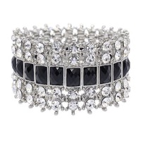 Crystal Stretch Cuff Vintage Fashion Bracelet Black - Like Love Buy