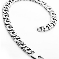 Justeel Jewelry Mens Silver 316l Stainless Steel Punk Vintage Chain Link Bracelet Wrist Band - Like Love Buy