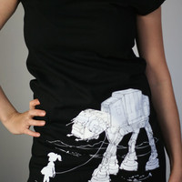 My Star Wars ATAT Pet  American Apparel T Dress  by ironspider