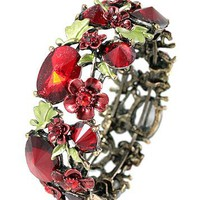 Vintage Style Wrap Bracelet with Red & Green Flower Red Crystals 1 Inches Wide - Like Love Buy
