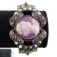 Purple Crystal Rhinestone Cameo Lady Vintage Inspired Brass Cuff Bangle Bracelet - Like Love Buy