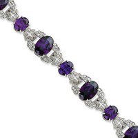 Sterling Silver Purple & Clear Cz Vintage Style Bracelet - Like Love Buy