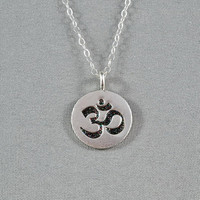Ohm Symbol Disc Necklace, 97% Fine Silver, Sterling Silver Chain, Modern, Simple, Pretty, Wonderful Jewelry