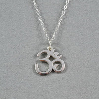 Beautiful Ohm Necklace, Shiny Finish Sterling Silver, Modern, Simple, Pretty, Wonderful Jewelry