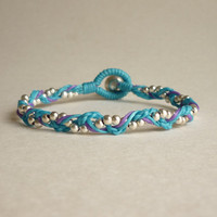 Little Blue and Purple Braided Bracelet - Gift under 15 - Gift for Her