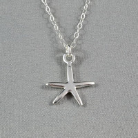 Shiny Starfish Necklace, Sterling Silver, Cute, Delicate, Everyday Wear Necklace