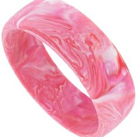 Matte Pink Fuschia Marbled Plastic Bangle Bracelet Vintage - Like Love Buy