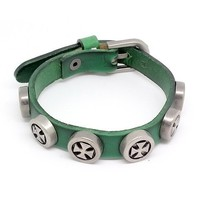 Top Value Jewelry - Mens Green Leather Biker Bracelet with Vintage Silver Plated Crosses - Like Love Buy