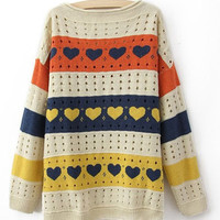Colorful Stripes and Heart Print Curved Hem Long Sleeve Sweater from Showmall
