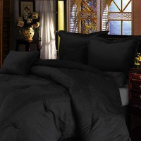 Chezmoi Collection 5 Pieces Solid Black Microsuede Comforter/bed-in-a-bag Set Twin Size Bedding