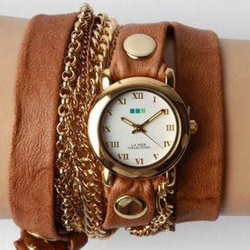 La Mer Arizona Multichain Wrap Watch- Tobacco