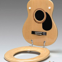 Music Gifts - Acoustic Guitar Toilet Seat - Natural - Affys.com