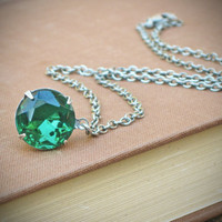 Vintage Rhinestone Necklace Swarovski Green Emerald by RewElliott