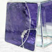 Stained Glass Jewelry Box Vivid Purple 4x4 w/ three by GaleazGlass