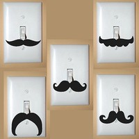 Light Switch Mustache Vinyl Decals Set of 2