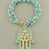 Hasma &amp; Evil Eye Crystal Bead Bracelet