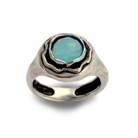 Sterling silver stone ring inlaid blue ocean by artisanlook