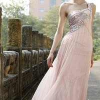 Silver and Pink One Shoulder Elegant Pageant Gown