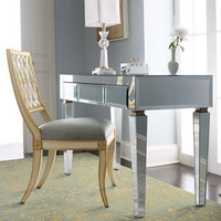Mirrored Desk &amp; Pillar Chair - Horchow