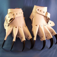White Gothic Steampunk Claw Gauntlets / Gloves