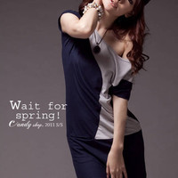 Leisure Round Spring Fashion Blue One Pieces : Yoco-fashion.com