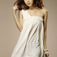 Simple One Shoulder Graceful Cotton White Dresses : Yoco-fashion.com