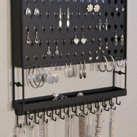 Wall Mount Jewelry Organizer Hanging Earring Holder Necklace Rack Closet Storage (CLICK TO SEE COLO