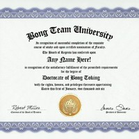 Bong Team Toking Degree: Custom Gag Diploma Doctorate Certificate (Funny Customized Joke Gift - Novelty Item)