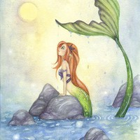 Mermaid Art - 5x7 - Watercolor Fine Art Print - Mermaid Dreaming - fairy tale whimsical beach girl red hair ocean storybook