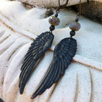 Dark Angel Wing Earrings by lunarbelle on Etsy