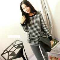Cute Houndstooth Long Sleeve Top