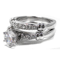 Engagement Ring - Round Diamond Engagement Ring and Wedding Band six stone pave band 0.27 tcw in Platinum - ES403PL