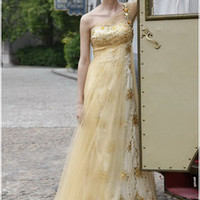 Princess Gold One Shoulder Dress with Layers
