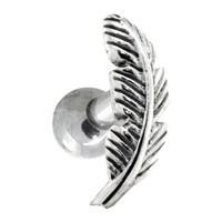 LEFT EAR - Nature Leaf Sterling Silver Cartilage Piercing Earring Stud
