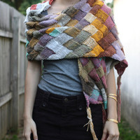 $185.00 Painted Desert wrap  yellow turquoise olive pink by HeyFreddie