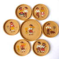 Cork Coasters - Six Glasses and One Bottle Coaster - Traditional Portuguese Clothing Images
