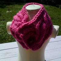 Knit Chunky Cowl Scarf  Neck Warmer one button- Women,girls - cable stich- Ready to ship