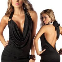 Amazon.com: Deep Plunging Dress - Black Open Back Halter Style: Clothing