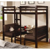 Amazon.com: Twin Size Convertible Loft Bed in Dark Wood Finish: Furniture &amp; Decor