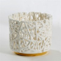 Tangled Web Small T-Light Holder with gold lustre detail by Timea Sido at Seek & Adore